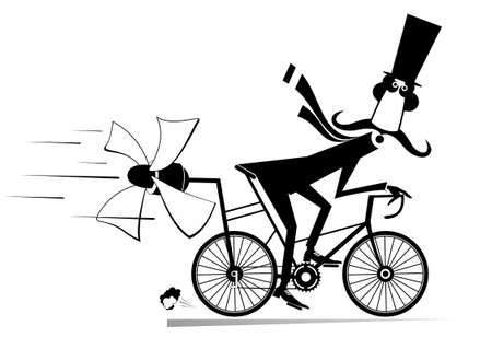 Long mustache man in the top hat rides on the bicycle illustration. Cartoon mustache man in the top hat rides on the bicycle and tries to ride faster using a propeller black on white Ilustração