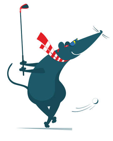 Cartoon rat or mouse plays golf illustration. Funny rat or mouse tries to do a good kick isolated on white Ilustração