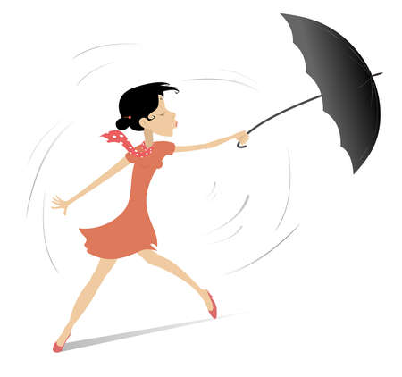 Windy and rainy day and woman with umbrella illustration. Pretty young woman holds an umbrella isolated on white