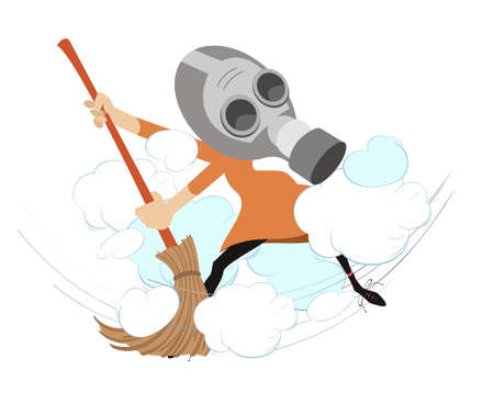 Dust cloud and woman with a big broom illustration. Cartoon woman in the gas mask sweeps dust using a broom isolated on white