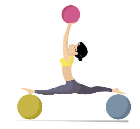 Young woman does exercises with the balls illustration. Young woman with lithe figure doing sport exercise with the balls isolated on white