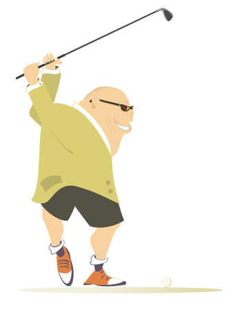 Comic golfer man on the golf course illustration. Cartoon smiling fat bald-headed man in sunglasses aiming to do a good kick isolated on white