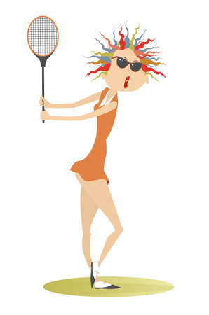 Young woman playing tennis illustration. Pretty young woman in sunglasses with a tennis racket isolated on white Ilustração