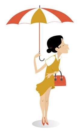 Pretty young woman with handbag and umbrella illustration. Smiling young woman with handbag and umbrella isolated on white Ilustração