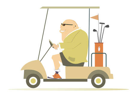 Comic golfer man in the golf cart illustration. Cartoon smiling fat bald-headed man in sunglasses is going to play golf in the golf cart isolated on white Ilustração