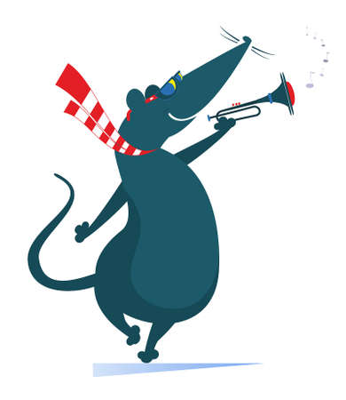 Cartoon rat or mouse a trumpeter is playing music illustration. Rat or mouse playing trumpet isolated on white Ilustração