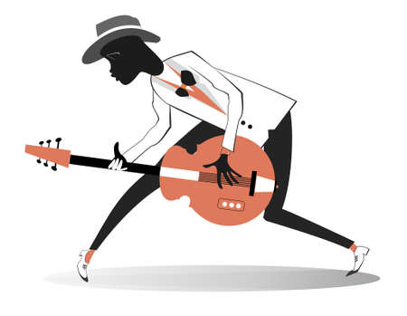 Afro-American guitarist illustration. Afro-American musician is playing guitar with inspiration isolated on white Ilustração