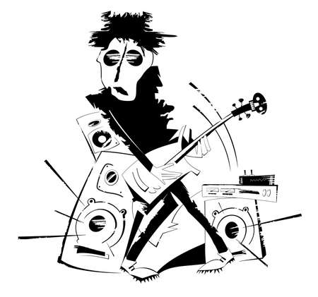 Cartoon guitar player isolated illustration. Expressive guitarist plays loud music using amplifier and several speakers black on white
