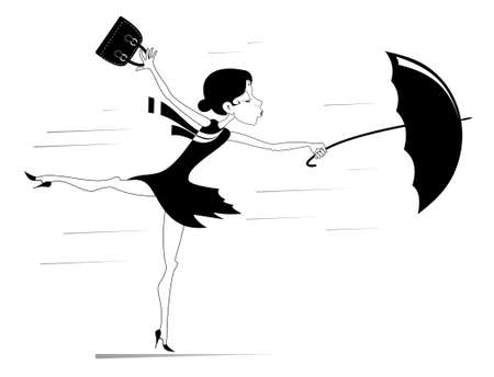 Windy weather, young woman and umbrella isolated illustration. Pretty young woman with a handbag and an umbrella is standing on the wind black on white