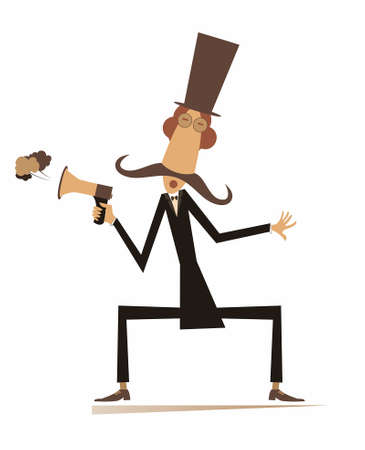 Man, megaphone and news isolated illustration. Cartoon mustache in the top hat man with megaphone makes announcement isolated on white