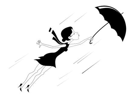 Windy weather, young woman and umbrella isolated illustration. Pretty young woman with a handbag and an umbrella gone by the wind black on white Ilustração