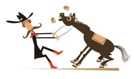 Cartoon rodeo illustration. Man or cowboy in the hat with long mustache is trying to hold the stubborn horse isolated on white