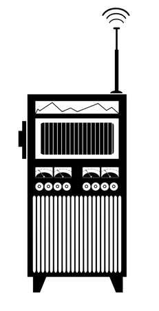 Old style radio isolated illustration. Vintage radio black on white