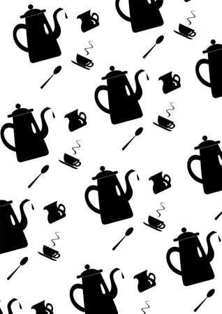 Pattern with coffee or tea pot, cup, cream and spoon. Coffeepot or teapot, cup, cream and spoon black on white background for design