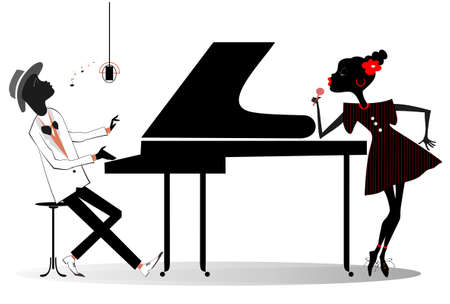 Couple African musicians, singer woman and pianist man isolated illustration. Expressive African duet of woman with a microphone and pianist man isolated on white illustration