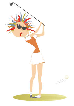 Young golfer woman on the golf course illustration. Cartoon golfer woman in sunglasses aiming to do a good kick isolated on white