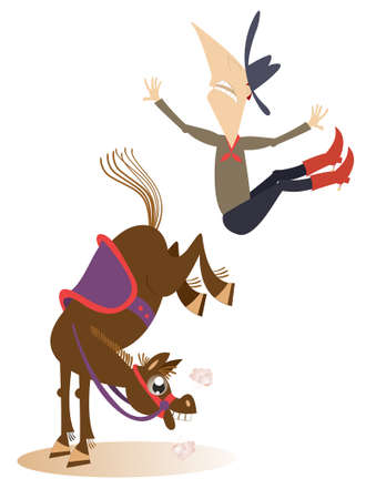 Cartoon rider falls from the horse isolated illustration. Funny horse kicks a falling down long mustache man or cowboy isolated on white