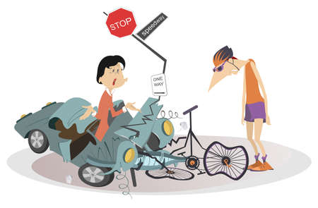 Road accident, driver, cyclist and broken bike illustration. Upset driver woman asks the sad cyclist man what to do with the broken car isolated on white