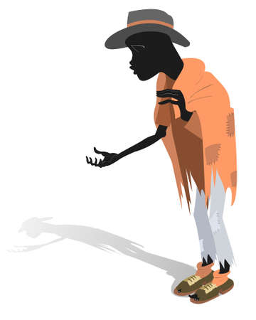 African a beggar man illustration. Hungry and chilled African man asks for help and money isolated on white Ilustración de vector