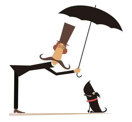 Long mustache man, umbrella and the dog illustration. Funny long mustache man in the top hat protects a dog against the rain by umbrella isolated on white illustration
