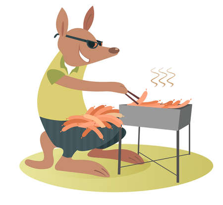 Cartoon kangaroo fries sausages on the grill illustration. Funny kangaroo in sunglasses with a lot of sausages in the marsupium fries them on the grill on the lawn