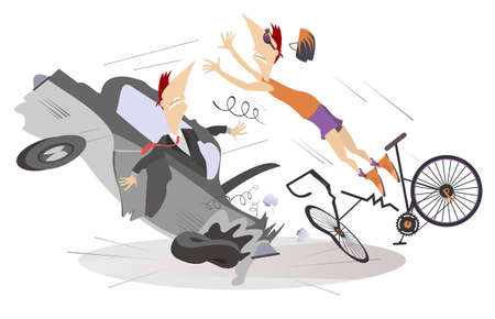 Road accident, driver, cyclist and broken bike illustration. Shocked driver man sits in the broken car and cyclist falling down from the bicycle isolated