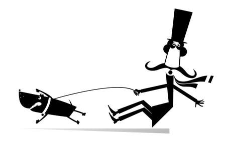 Funny long mustache and disobedient dog illustration. Cartoon long mustache man in the top tries to stop an angry dog black on white