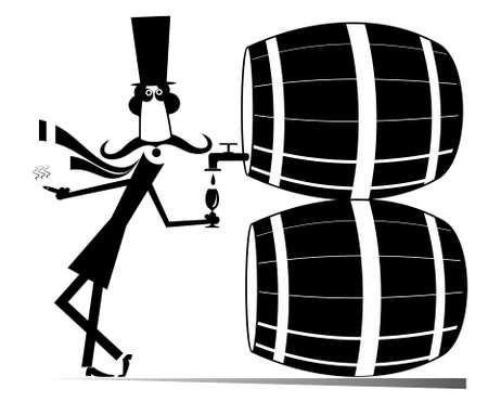 Cartoon long mustache man, wine, tuns illustration. Funny long mustache man in the top hat smokes a cigar and drinks wine from the big tun black on white