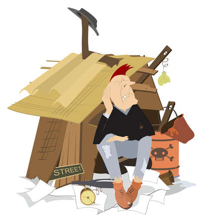 Sad beggar sits near the hut illustration. Hungry and chilled man sits near the hut with trash surrounded isolated on white