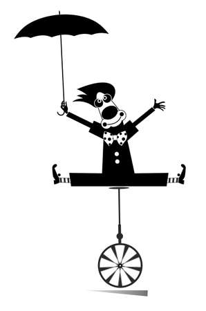 Equilibrist clown balances on the unicycle with an umbrella illustration. Cartoon clown balances on the unicycle and holds an umbrella black on white illustration
