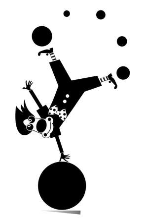 Funny clown equilibrist juggles balls illustration. Cartoon clown balances legs up on the big ball and juggles the balls black on white