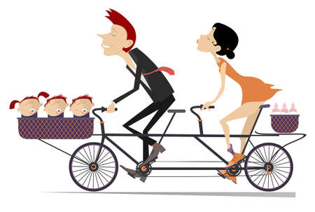 Caucasian man, woman and three babies ride on the tandem bike illustration. Happy man and woman ride a bike with three babies and infant food in the baskets isolated on white Çizim
