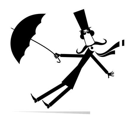 Long mustache man stays on the strong wind illustration. Strong wind and a long mustache man in the top hat with umbrella black on white