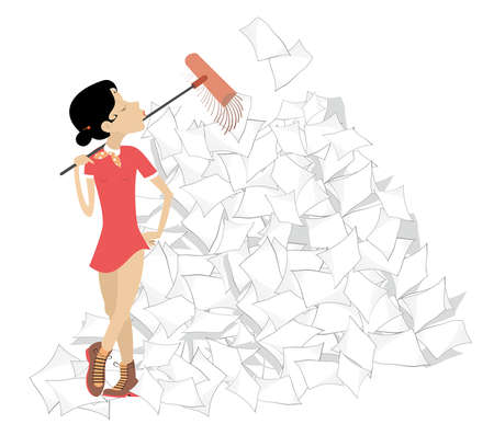 Young woman tidying up the office illustration. Young woman sweeps a big pile of papers or documents using a broom isolated on white