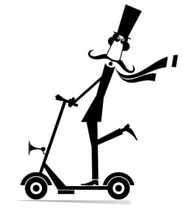 Mustache man in the top hat rides on scooter illustration. Long mustache gentleman in the top hat riding ecologically clean urban vehicle black on white