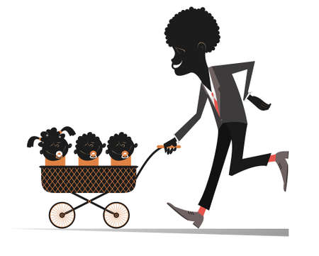 African man with infants in the stroller illustration. Proud young African man carries a stroller with three babies sucking isolated on white
