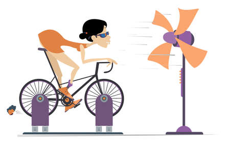 Cyclist trains at home on the exercise bike illustration. Cyclist woman rides on exercise bike in front of the ventilator isolated on white Ilustração