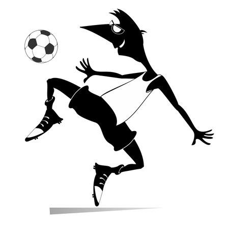 Smiling young man playing football illustration. Cartoon football player kicks a ball black on white