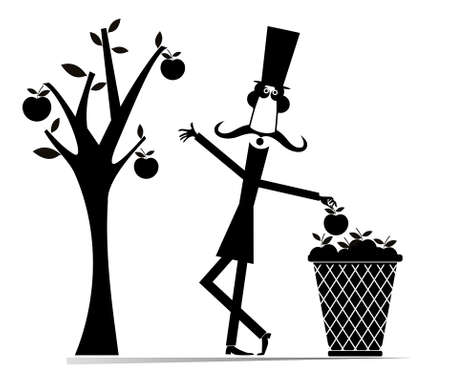 Cartoon gardener, apple tree, big basket illustration. Comic long mustache man in the top hat picks apples from the tree and puts them into a big basket black on white Ilustração