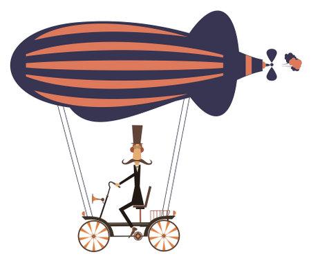 Funny mustache man on the airship illustration.  Cartoon mustache man flies on the airship isolated on white illustration
