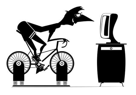Cyclist trains at home on the exercise bike illustration.  Cyclist young man rides on exercise bike in front of TV or computer black on white