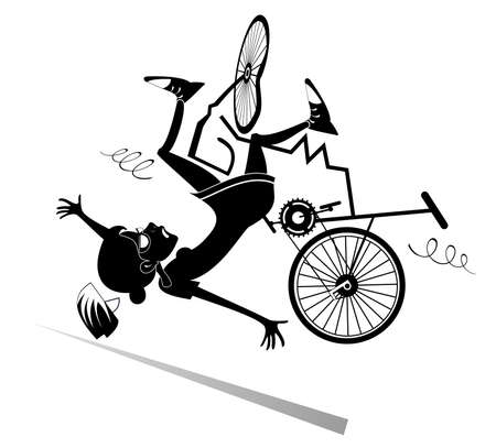 Cyclist woman falling down from the bicycle illustration. Cyclist woman falling down from the broken bicycle black on white illustration