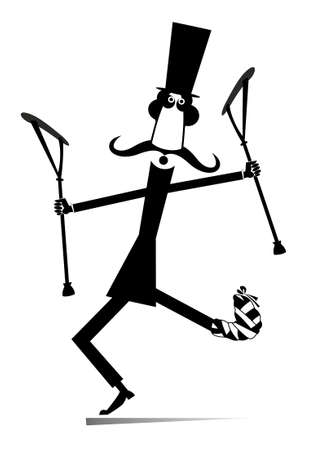 Happy cartoon man, bandage on the leg, crutches illustration. Cheerful long mustached gentleman in the top hat with bandage on the leg dancing with crutches and looks happy black on white