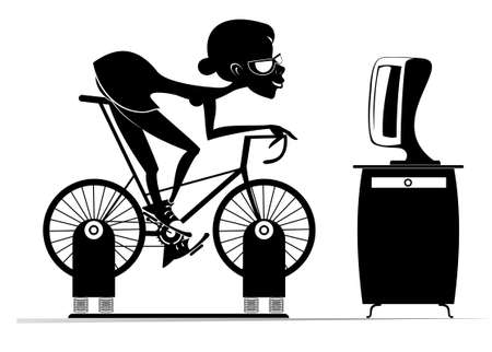 Cyclist woman trains at home on the exercise bike illustration.  Cyclist young woman rides on exercise bike in front of TV or computer black on white