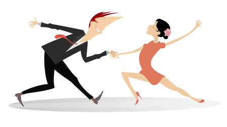 Dancing young couple illustration.  Romantic dancing man and woman isolated on white