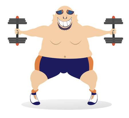 Cartoon strong man does exercises with dumbbells illustration. Smiling bald-headed man in sunglasses does exercises with dumbbells isolated on white Ilustração