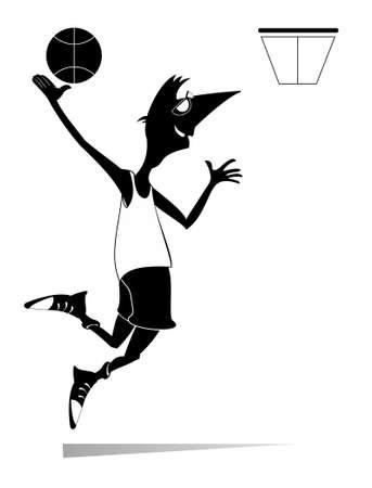 Smiling young man playing basketball illustration. Cartoon basketball player throws a ball to the basket black on white Ilustração