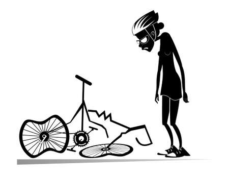 Cyclist woman and a broken bike isolated illustration. Sad woman standing near a broken bike with downcast head and hands black on white Ilustração