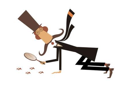 Cartoon long mustache detective illustration. Long mustache detective in the top hat holding a loupe follows the traces black on white illustration