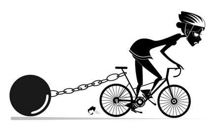 Hard training cyclist woman illustration.  Cyclist woman drags a heavy weight to be connected by the chain to his bike black on white Ilustração
